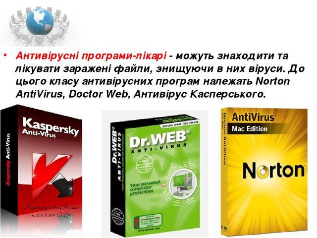 Антивірусні програми-лікарі - можуть знаходити та лікувати заражені файли, зн...
