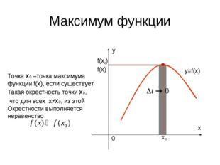 Максимум функции f(х) y=f(x) Точка х0 –точка максимума функции f(x), если сущ