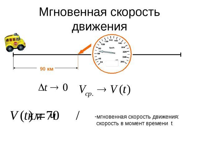 Мгновенная скорость движения 90 км мгновенная скорость движения: скорость в м...