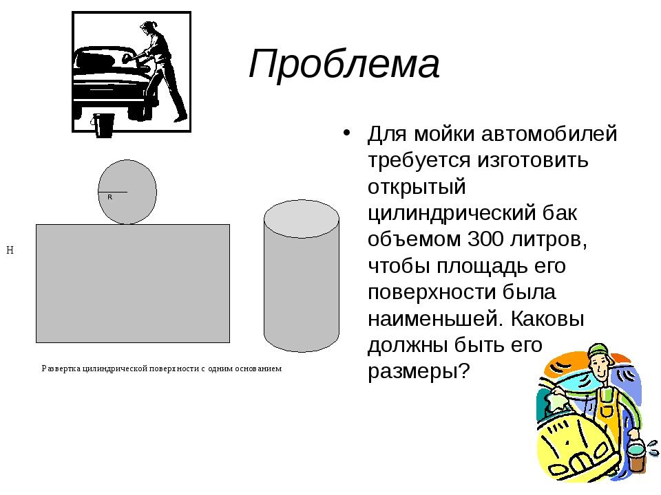 Проблема Для мойки автомобилей требуется изготовить открытый цилиндрический б...