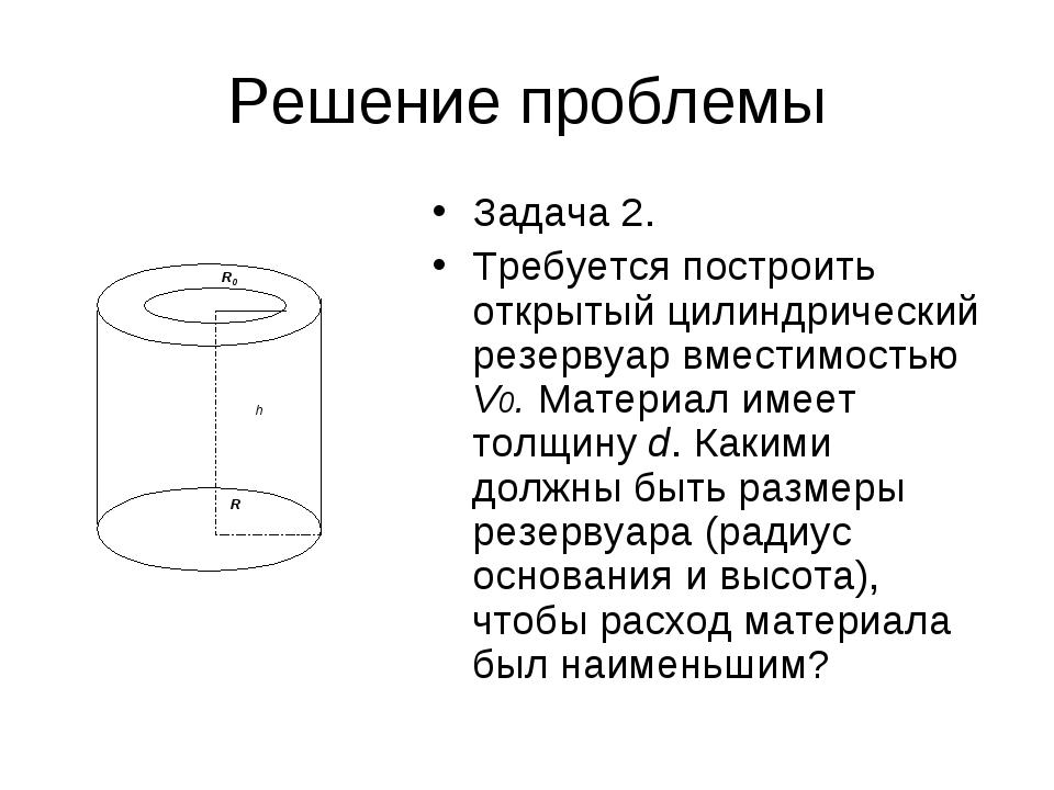 Решение проблемы Задача 2. Требуется построить открытый цилиндрический резерв...