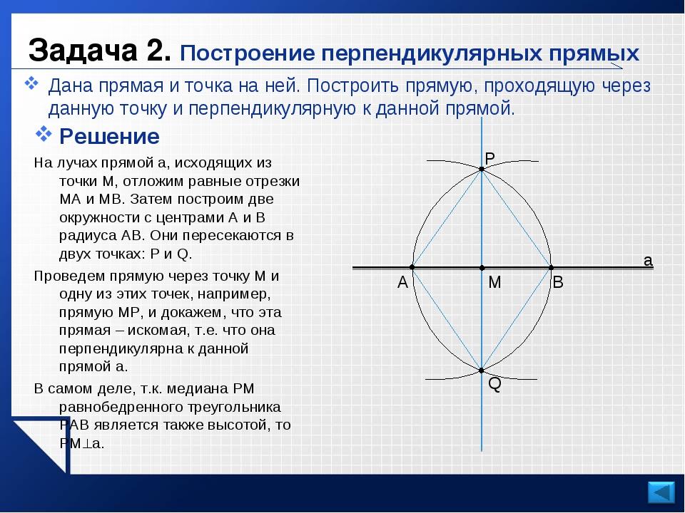 Задача 2. Построение перпендикулярных прямых Дана прямая и точка на ней. Пост...