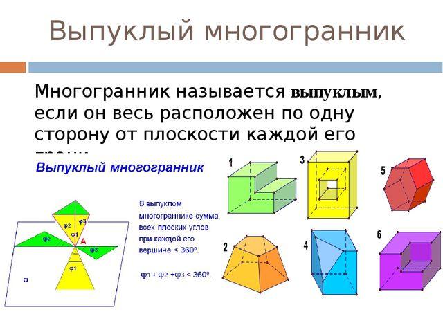 Выпуклый многогранник Многогранник называетсявыпуклым, если он весь располож...