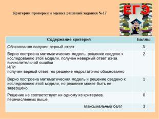 Критерии проверки и оценка решений задания №17 Содержание критерияБаллы Обос