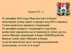 Задача № 3 31 декабря 2014 года Максим взял в банке некоторую сумму денег в к