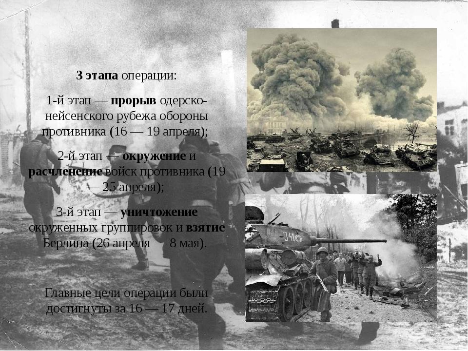 3 этапа операции: 1-й этап — прорыв одерско-нейсенского рубежа обороны проти...