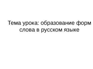 Тема урока: образование форм слова в русском языке