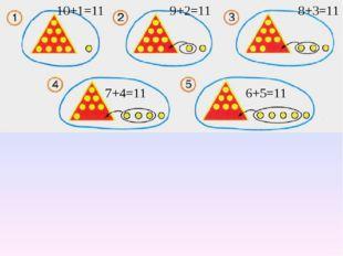 10+1=11 9+2=11 8+3=11 7+4=11 6+5=11