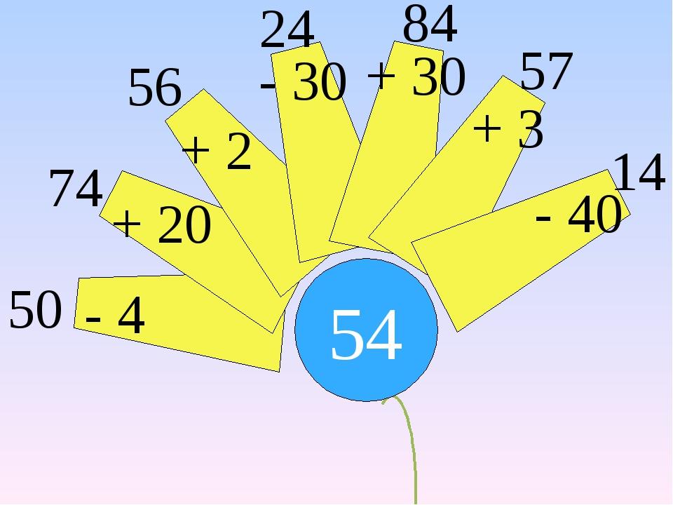 54 - 4 + 20 + 2 - 30 + 30 + 3 - 40 50 74 56 24 84 57 14