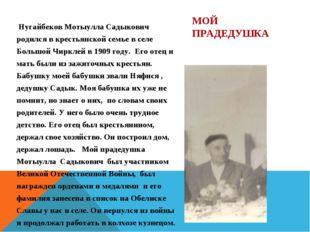 Нугайбеков Мотыулла Садыкович родился в крестьянской семье в селе Большой Чи
