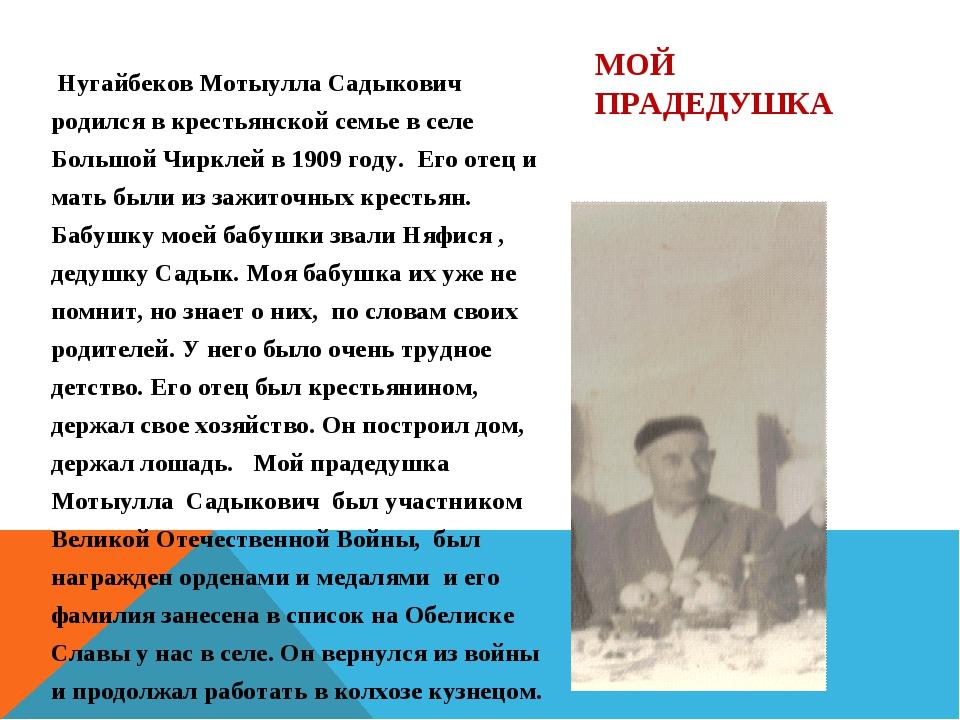 Нугайбеков Мотыулла Садыкович родился в крестьянской семье в селе Большой Чи...