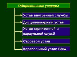 Общевоинские уставы Устав внутренней службы Дисциплинарный устав Устав гарниз