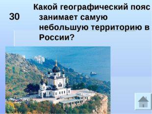 30 Какой географический пояс занимает самую небольшую территорию в России?