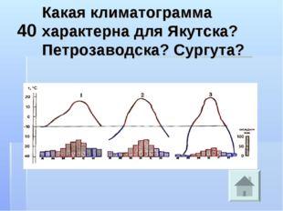 40 Какая климатограмма характерна для Якутска? Петрозаводска? Сургута?