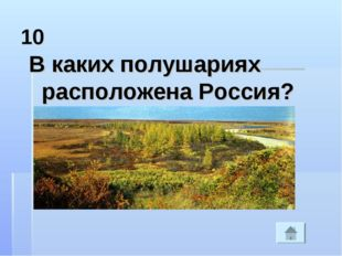10 В каких полушариях расположена Россия?