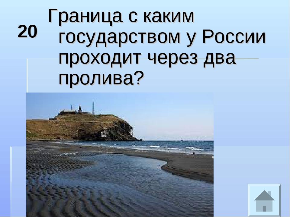 20 Граница с каким государством у России проходит через два пролива?