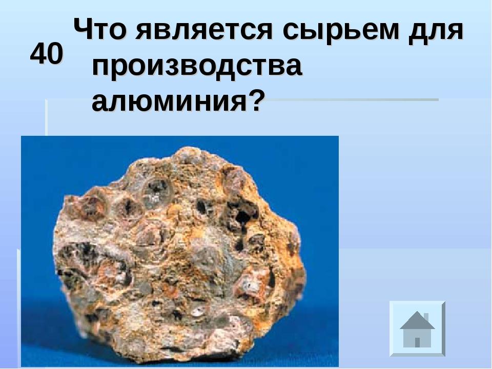 40 Что является сырьем для производства алюминия?