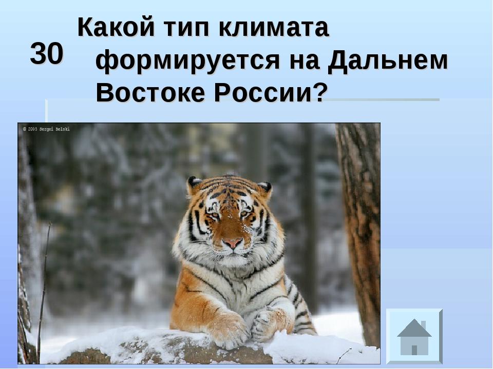 30 Какой тип климата формируется на Дальнем Востоке России?