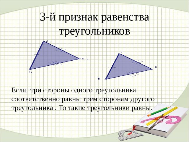 3-й признак равенства треугольников Если три стороны одного треугольника соот...
