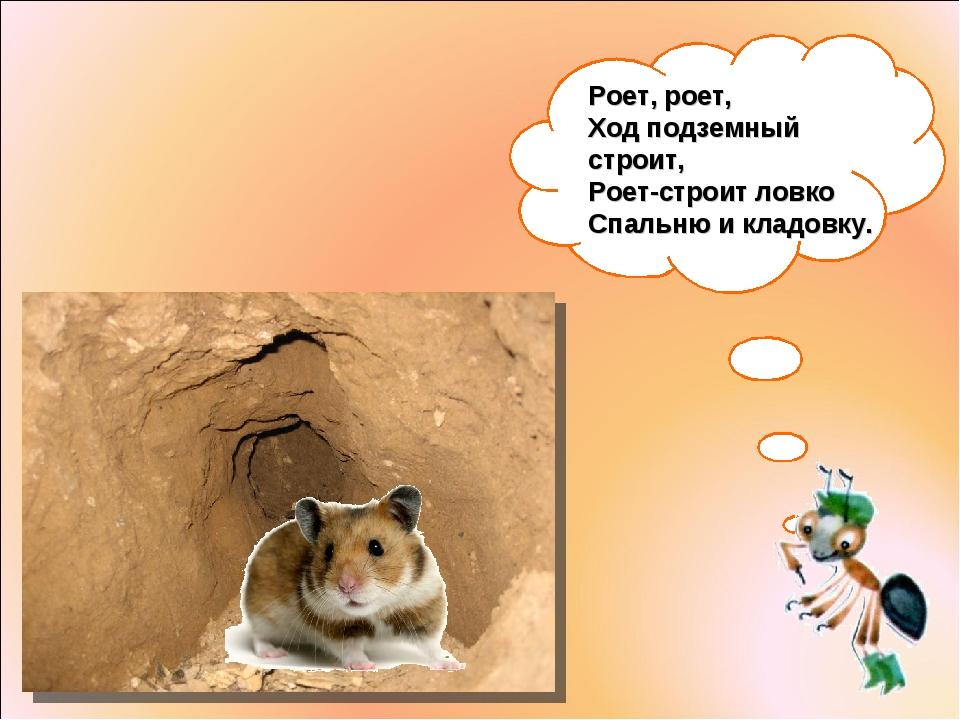 Роет, роет, Ход подземный строит, Роет-строит ловко Спальню икладовку.