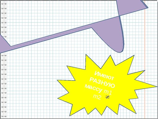 Имеют РАЗНУЮ массу m1 m2 Тела, имеющие РАВНЫЕ объёмы V1= V2 Тела, имеющ...