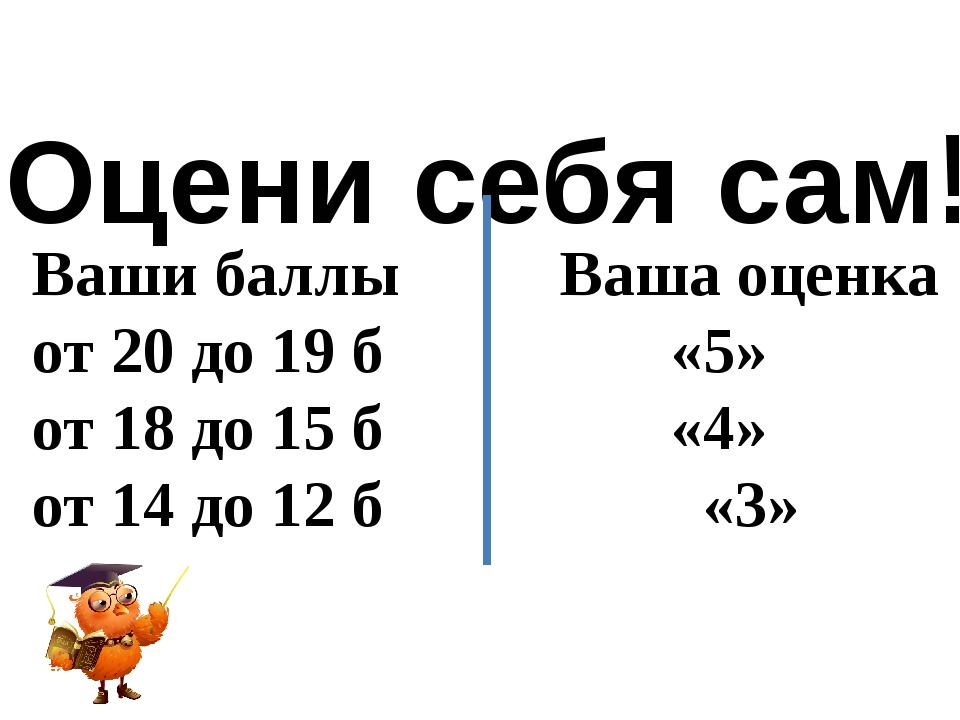Оцени себя сам! Ваши баллы Ваша оценка от 20 до 19 б «5» от 18 до 15 б «4» от...