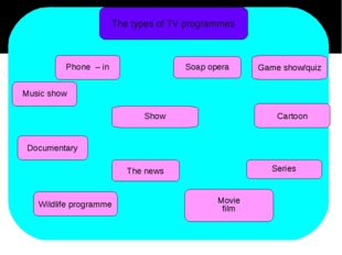 The types of TV programmes Music show Documentary The news Wildlife programm
