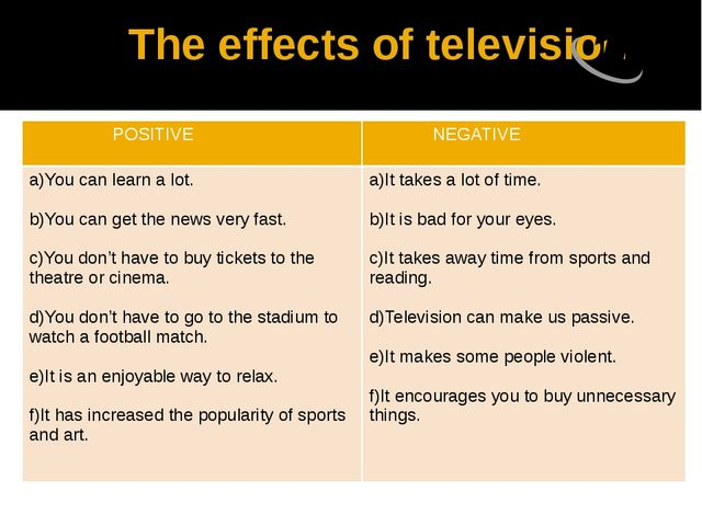 The effects of television POSITIVE NEGATIVE a)Youcan learn a lot. b)You can...