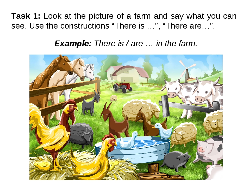 Task 1: Look at the picture of a farm and say what you can see. Use the const...