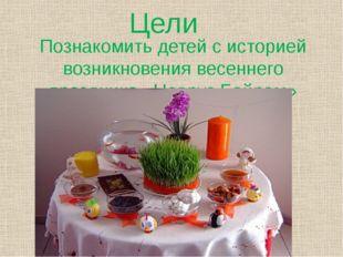 Цели Познакомить детей с историей возникновения весеннего праздника «Новруз Б