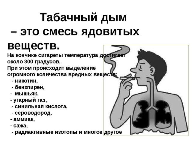 . Табачный дым – это смесь ядовитых веществ. На кончике сигареты температура...
