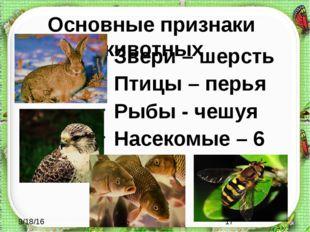 Основные признаки животных Звери – шерсть Птицы – перья Рыбы - чешуя Насекомы