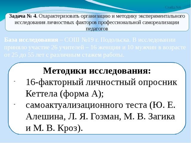 Слайд №6 База исследования – СОШ №19 г. Подольска. В исследовании приняло уча...
