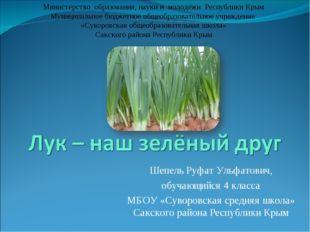 Шепель Руфат Ульфатович, обучающийся 4 класса МБОУ «Суворовская средняя школа