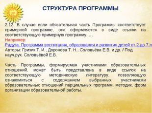 СТРУКТУРА ПРОГРАММЫ 2.12. В случае если обязательная часть Программы соответс