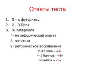 Ответы теста 3 – к футуризму 2 - Л.Брик 3- гипербола 4- метафорический эпитет