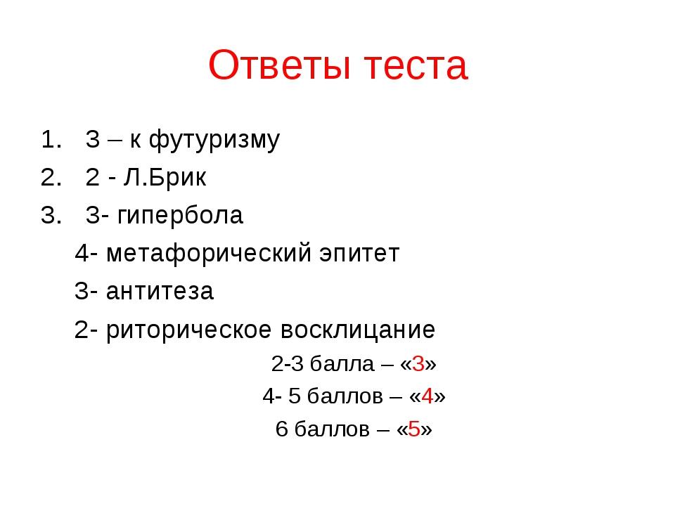Ответы теста 3 – к футуризму 2 - Л.Брик 3- гипербола 4- метафорический эпитет...