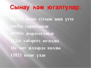 Сынау һәм югалтулар: 546255 кеше сугыш аша үтте 6669ы гарипләнде 49985е җәрәх