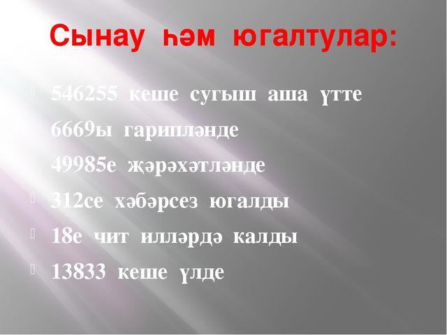 Сынау һәм югалтулар: 546255 кеше сугыш аша үтте 6669ы гарипләнде 49985е җәрәх...