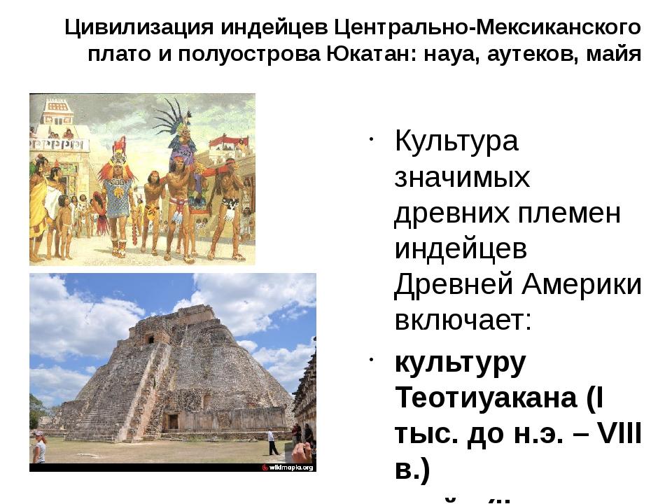 Цивилизация индейцев Центрально-Мексиканского плато и полуострова Юкатан: нау...