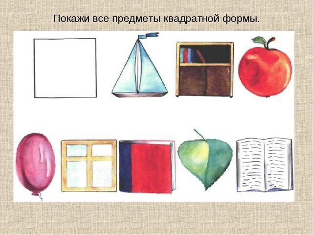 Покажи все предметы квадратной формы.