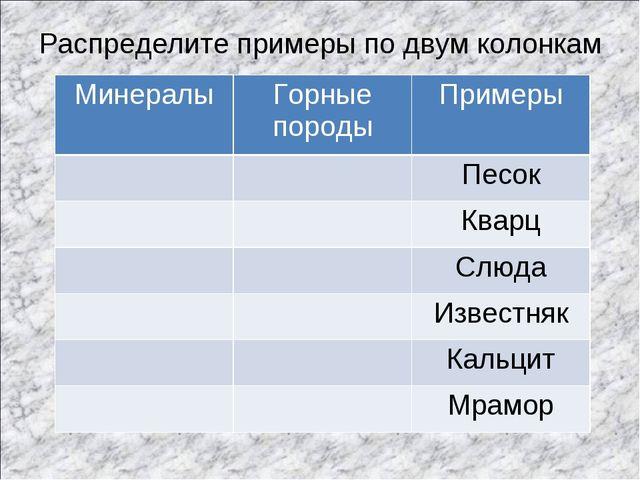 Распределите примеры по двум колонкам МинералыГорные породыПримеры Песок...