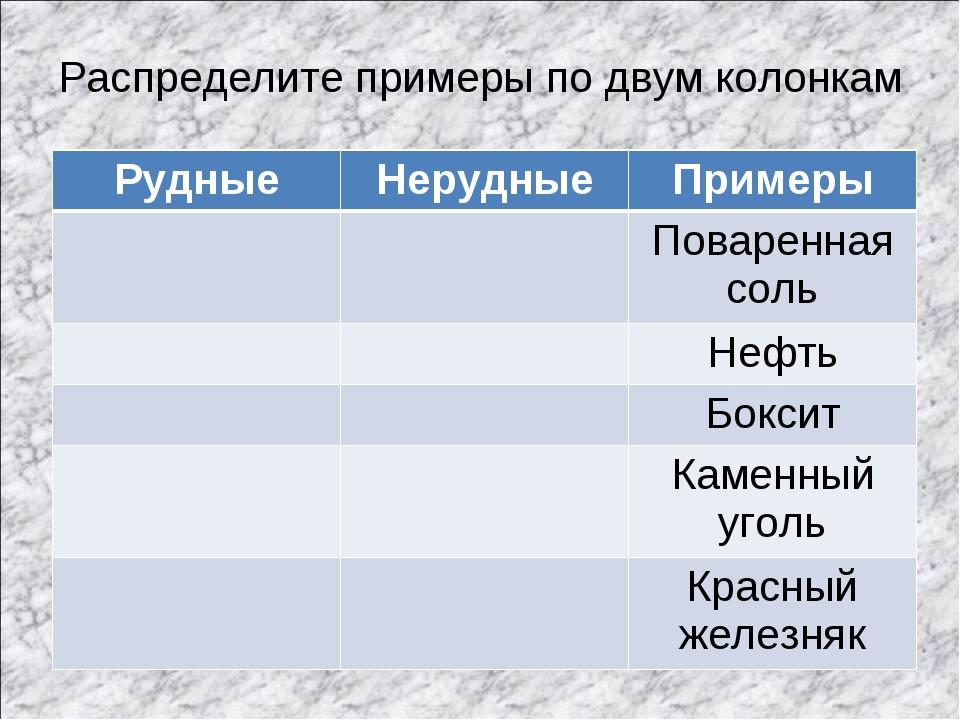 Распределите примеры по двум колонкам РудныеНерудныеПримеры Поваренная со...