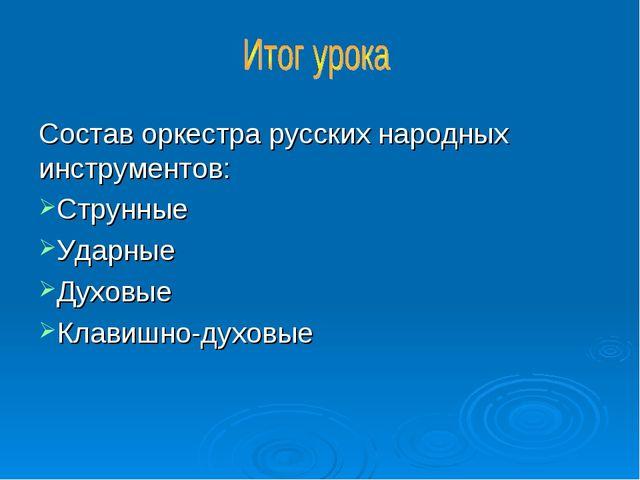 Состав оркестра русских народных инструментов: Струнные Ударные Духовые Клави...