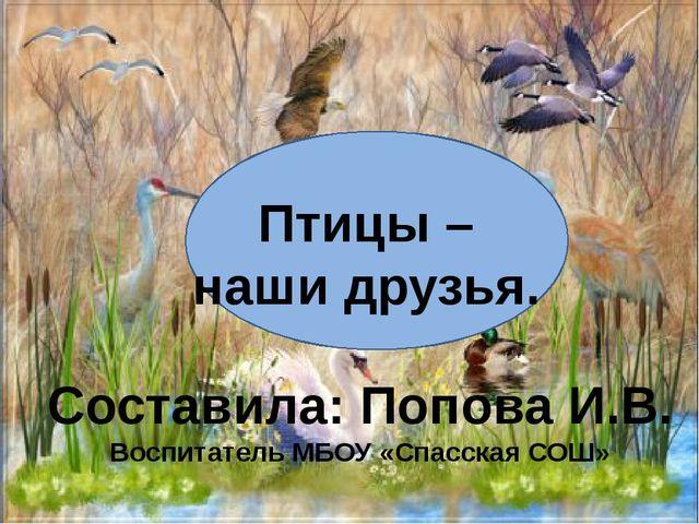 Птицы – наши друзья. Составила: Попова И.В. Воспитатель МБОУ «Спасская СОШ»