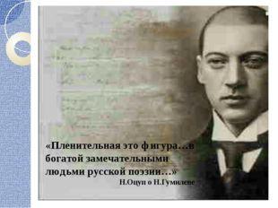 «Пленительная это фигура…в богатой замечательными людьми русской поэзии…» Н.О