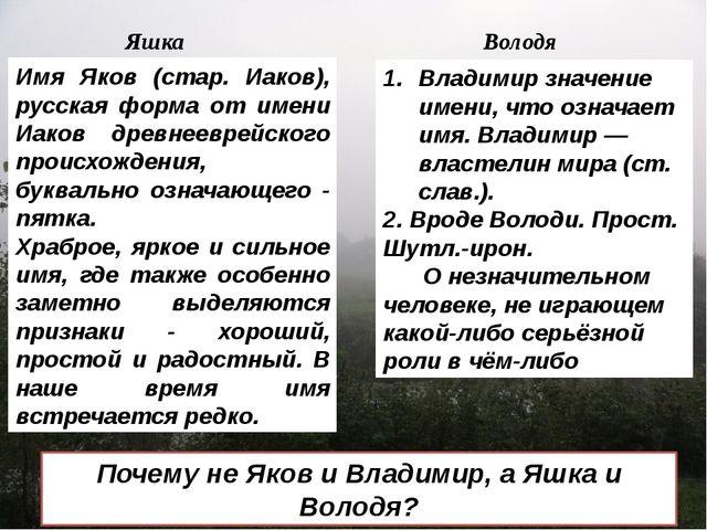 Яшка Володя Имя Яков (стар. Иаков), русская форма от имени Иаков древнееврей...