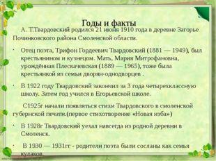 Годы и факты А. Т.Твардовский родился 21 июня 1910 года в деревне Загорье По