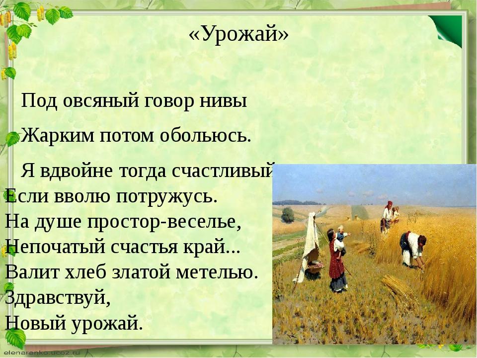 «Урожай» Под овсяный говор нивы Жарким потом обольюсь. Я вдвойне тогда счаст...