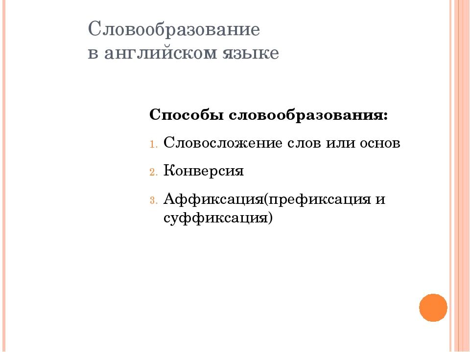 Словообразование в английском языке Способы словообразования: Словосложение с...